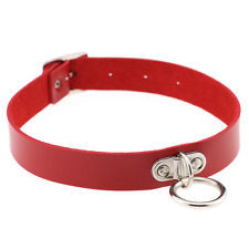 Кожаный ошейник   чокер с висящим кольцом на пряжке красный