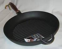 Чугунная сковорода-гриль с деревянной ручкой диаметром 260 мм и высотой 40 мм