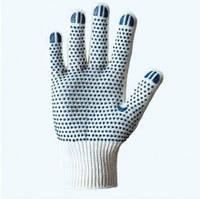 Перчатки вязанные (ладошка-синяя точка) х/б тройная плотность