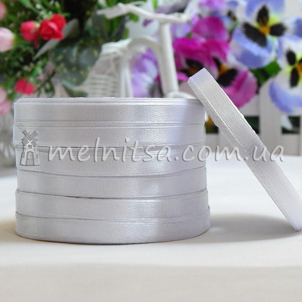 Атласная лента 0,6 см, №1 белый, рулон 23 м