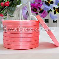 Атласная лента 0,6 см, №5 розовый, рулон 23 м