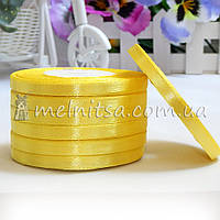 Атласная лента 0,6 см, №15 желтый, рулон 23 м