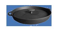 Сковорода-гриль чугунная с прессом диаметром 340 мм и высотой 40 мм