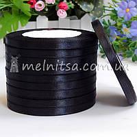 Атласная лента 0,6 см, №39 черный, рулон 23 м