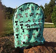 Бирюзовый водонепроницаемый рюкзак из хлопка с котиками, фото 1