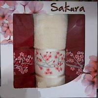 Набор махровых полотенец Сакура 70х140 1шт, 50х90 2шт бордо