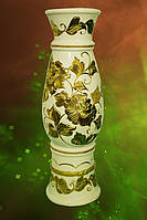 Ваза напольная Осень белая с золотым рисунком