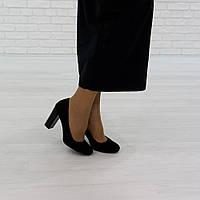 Туфли на широком каблуке из натуральной замши черный