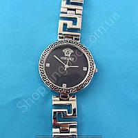Часы Versace 114270 серебристые женские круглые циферблат черный на  браслете диаметр 3,3 см копия