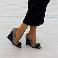 Туфли на танкетке из натуральной кожи серый