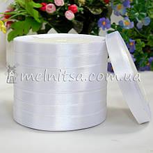 Атласная лента 1 см, №1 белый, рулон 23 м