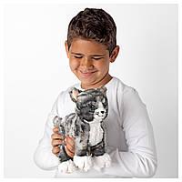 IKEA ЛИЛЛЕПЛУТТ Мягкая игрушка, кот серый, белый : 00260451, 002.604.51
