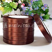 Атласная лента 1 см, №32 коричневый, рулон 23 м