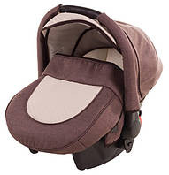 Детское автокресло Adamex 0+ CARLO коричневый лен-бежевая кожа перфорированная кожа , фото 1