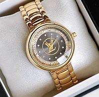 Часы женские наручные Louis Vuitton золотые с черным, часы дропшиппинг