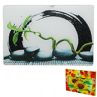 9552 Доска разделочная стеклянная 30х40х0.5 см (5) Бамбук