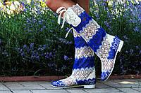 Кружевные летние бело-синие сапожки