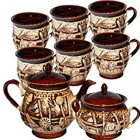 Набор чайный 8 предметов (Чайник1.5л, сахарница740мл,6чашек320мл) Витязь
