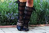 Кружевные летние черные сапожки , фото 2