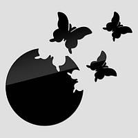Декор зеркальный бабочки, черный