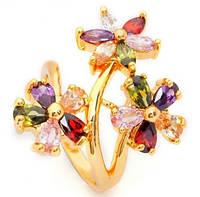 Шикарное позолоченное кольцо с цветными цирконами р 16,18 код 234