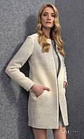 Женское шерстяное пальто серого цвета на молнии. Модель Daga Zaps. Коллекция осень-зима 2016-2017.