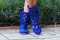 Модные кружевные летние синие полусапожки