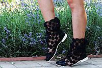 Модные кружевные летние черные полусапожки