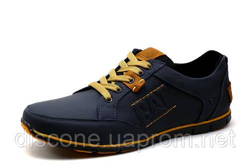 Туфли CAT, мужские, кожаные, спортивные, синие