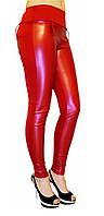 Брючные лосины кожа+дайвинг №136 красные