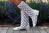 Модные кружевные летние белые полусапожки