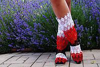 Модные кружевные летние полусапожки (белый-красный-черный)
