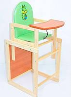 """Стульчик-трансформер для кормления деревянный кожзам №106 - """"Зайчик с корзинкой"""" - цвет салатовый ТМ """"Мася"""""""