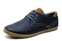 Туфли Gekon, мужские, кожаные, спортивные, темно-синие с коричневым, фото 1