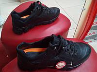 Кроссовки осенние мужские из натур. кожи МИДА 110041(16) чёрные, фото 1