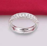 Кольцо покрытие белое золото с цирконами р 16,18 код 241