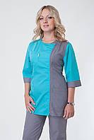 Медицинский костюм женский брючный серый+бирюза
