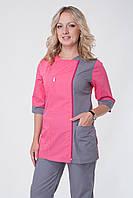 Медицинский костюм женский брючный серый+розовый