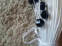 Шторы  нити белые с  цветным  круглым стеклярусом черным 1+9