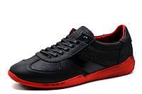Туфли Gekon, кожаные, мужские, спортивные, черные с красным, фото 1