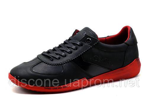Туфли Gekon, кожаные, мужские, спортивные, черные с красным