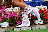 Модные кружевные летние белые сапожки, фото 2
