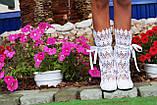 Модные кружевные летние белые сапожки, фото 3