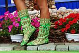 Модные кружевные летние салатные сапожки , фото 2