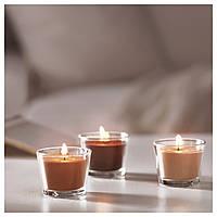 IKEA БРЭККА Набор ароматизированных свечей в стакане, шоколадний : 70277655, 702.776.55