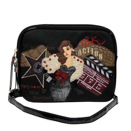Клатч - сумочка  женская кожзам черная с принтом Batty 2211