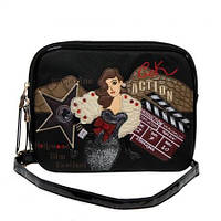Клатч - сумочка  женская кожзам черная с принтом Batty 2211, фото 1