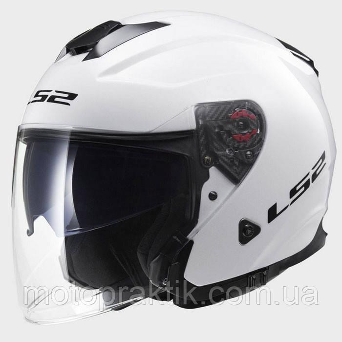 LS2 OF521 INFINITY SOLID GLOSS WHITE, XXS Мотошлем лицевик с очками