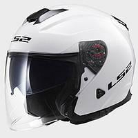 LS2 OF521 INFINITY SOLID GLOSS WHITE, XXS Мотошлем лицевик с очками, фото 1
