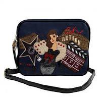 Клатч - сумочка  женская кожзам синяя с принтом Batty 2211